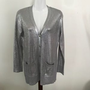 Chico's silver metallic looking sweater blouse